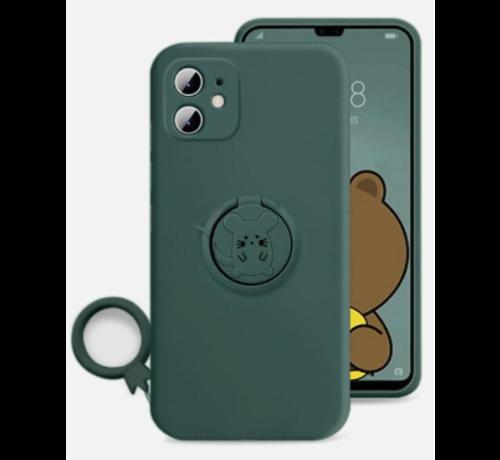 ShieldCase® Shieldcase iPhone 11 siliconen hoesje met ring (donkergroen)