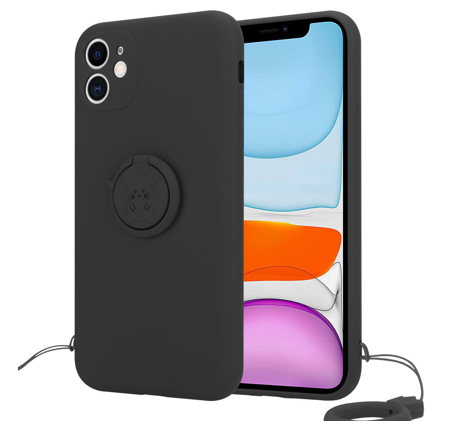 Shieldcase iPhone 11 siliconen hoesje met ring (zwart)