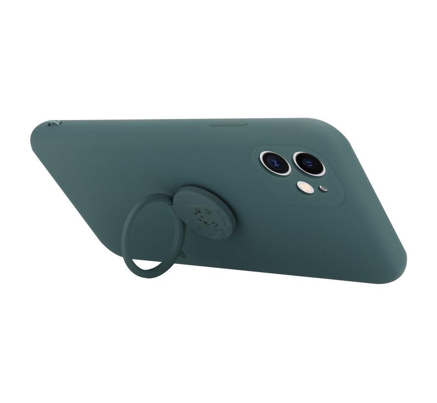 Shieldcase iPhone 11 siliconen hoesje met ring (donkergroen)
