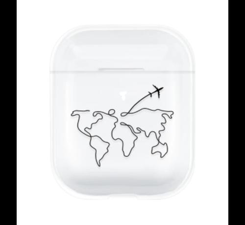 ShieldCase® Apple Airpods silicone case (transparant met atlas patroon)