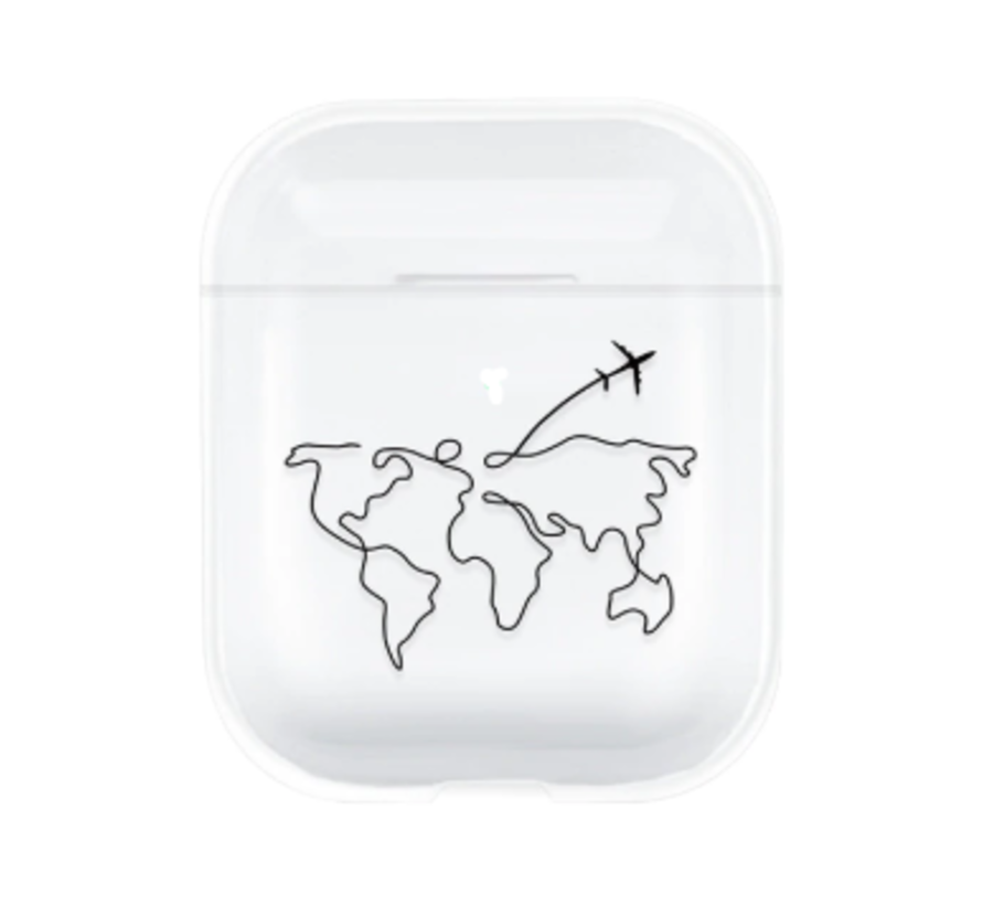 Apple Airpods silicone case (transparant met atlas patroon)