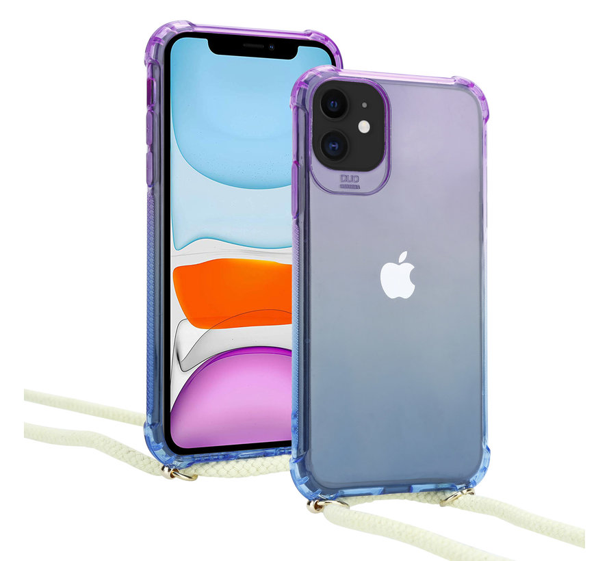 ShieldCase Telefoonhoesje met koord iPhone 11 (paars/blauw)