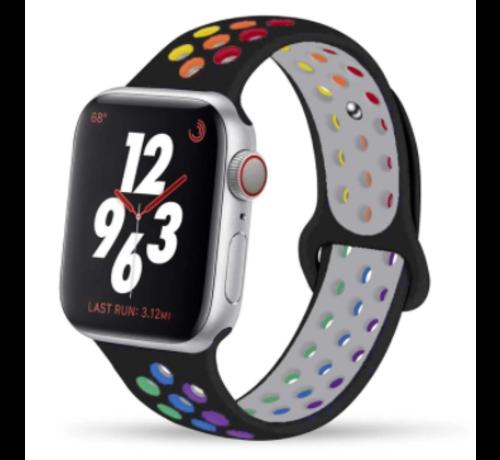 Apple Watch silicone sport+ band (zwart kleurrijk)