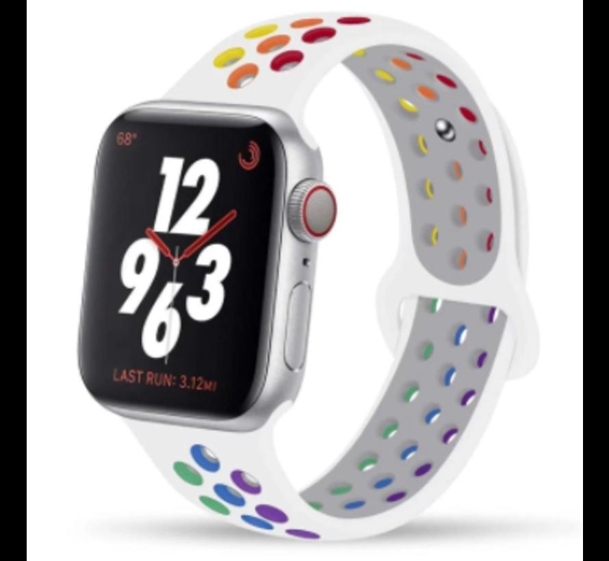 Apple Watch silicone sport+ band (wit kleurrijk)