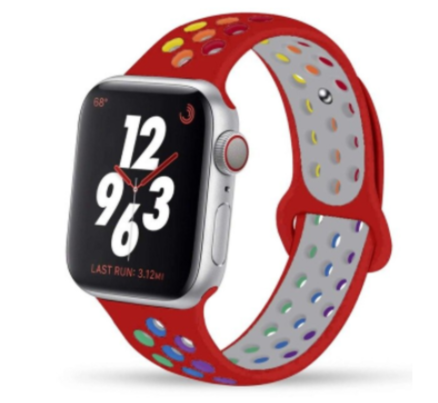 Apple Watch silicone sport+ band (rood kleurrijk)