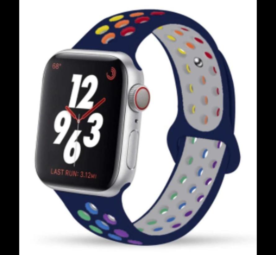Apple Watch silicone sport+ band (donkerblauw kleurrijk)