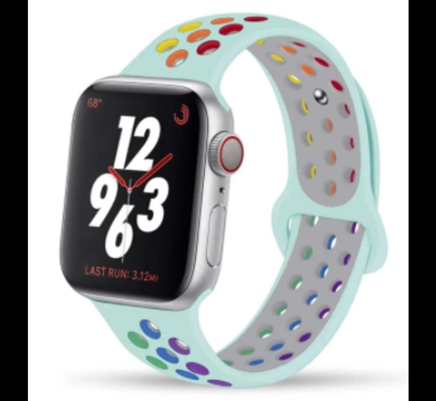 Apple Watch silicone sport+ band (lichtblauw kleurrijk)