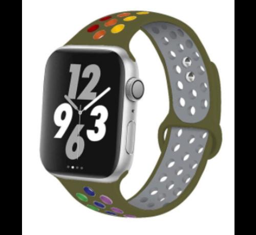 Apple Watch silicone sport+ band (olijfgroen kleurrijk)