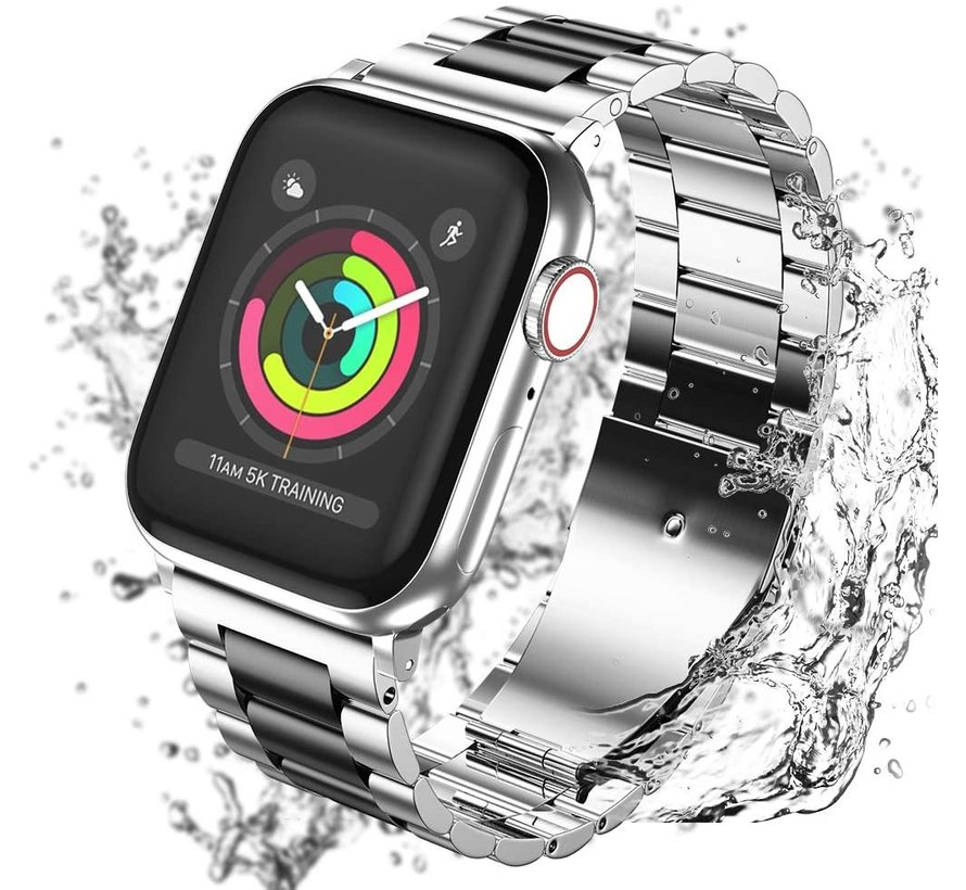 Apple Watch stalen band (zilver zwart)