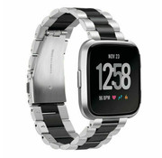 Fitbit Versa stalen bandje (zilver/zwart)