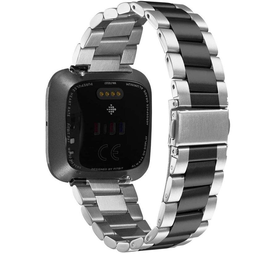 Fitbit Versa stalen bandje (ziver/zwart)