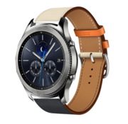 Samsung Gear S3 lederen bandje (wit/donkerblauw)