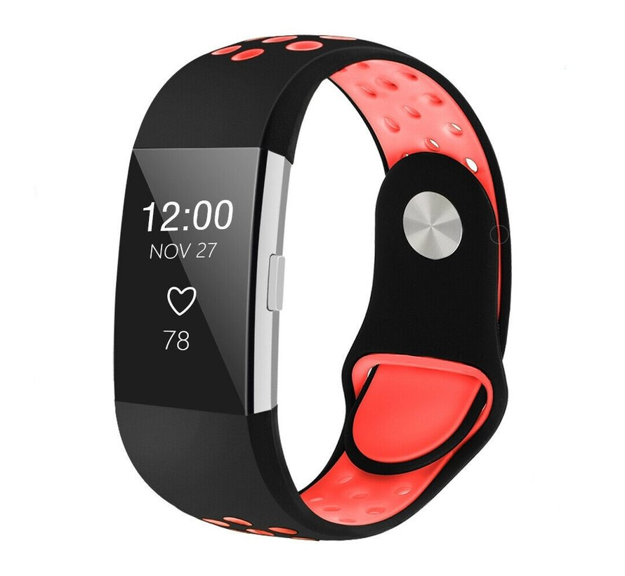 Fitbit Charge 2 sport band (zwart rood)