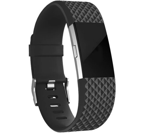 Fitbit Charge 2 diamant silicone band (zwart)