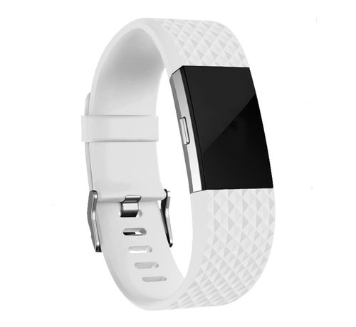 Fitbit Charge 2 diamant silicone band (wit)