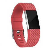 Fitbit Charge 2 diamant silicone band (rood)