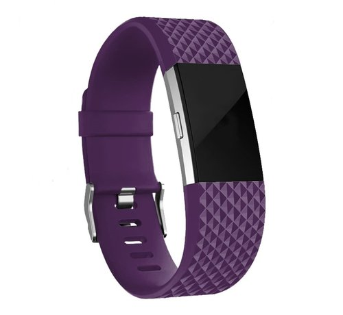Fitbit Charge 2 diamant silicone band (paars)