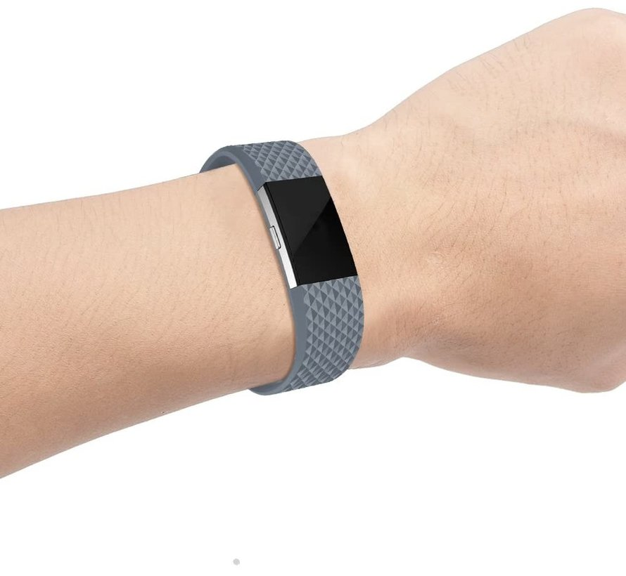Fitbit Charge 2 diamant silicone band (grijs)
