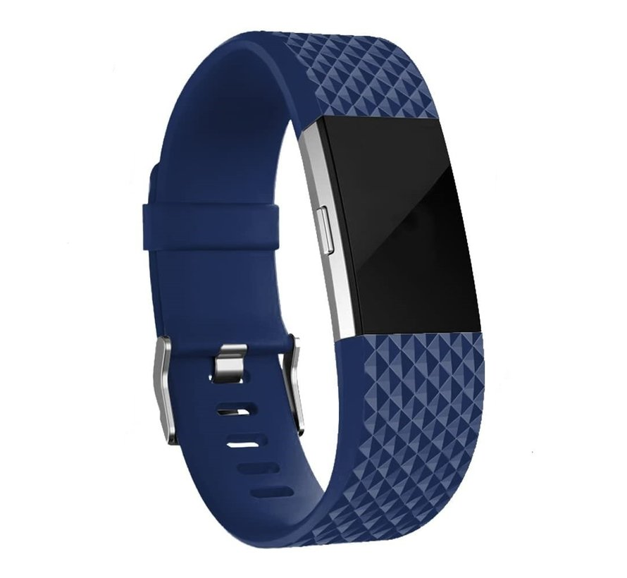 Fitbit Charge 2 diamant silicone band (donkerblauw)