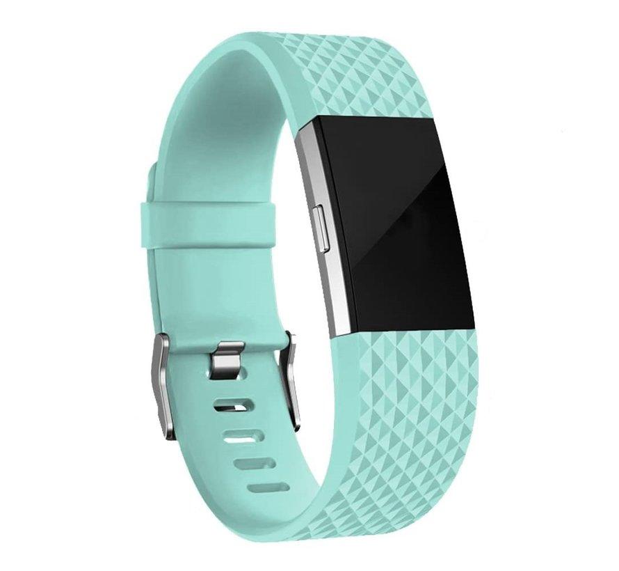 Fitbit Charge 2 diamant silicone band (aqua)