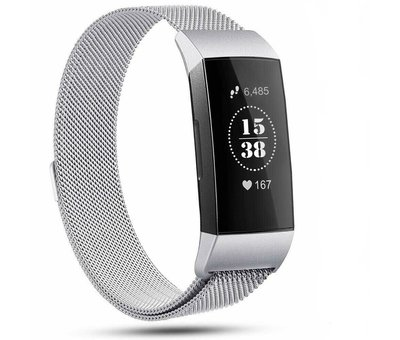 Fitbit Charge 4 Milanese band (zilver)