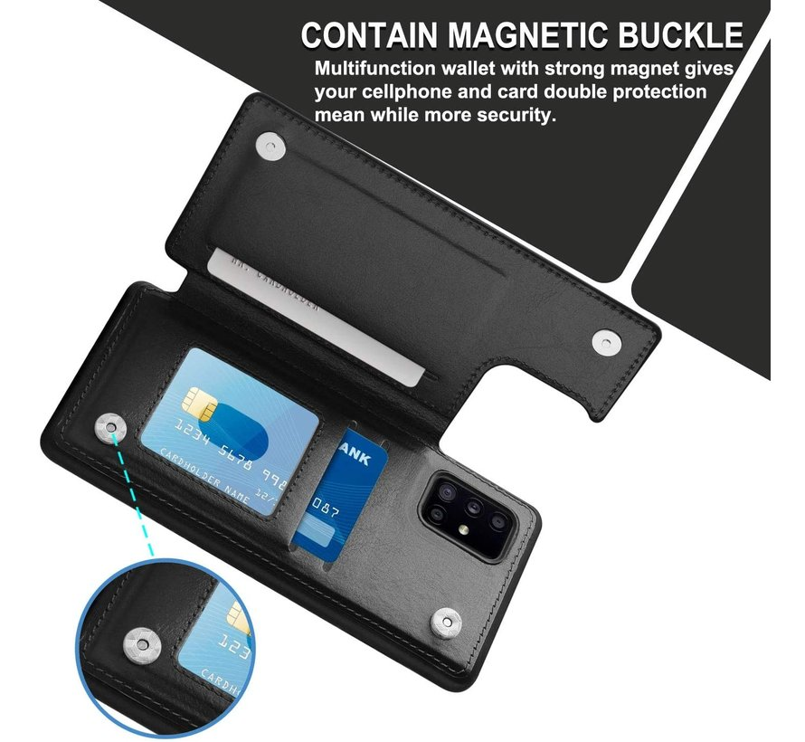 ShieldCase Samsung Galaxy A71 wallet case (zwart)