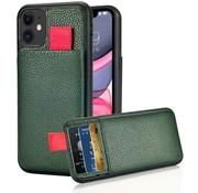 ShieldCase® Leren case met pashouder iPhone 11 (groen)