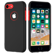 ShieldCase® Dubbellaags siliconen hoesje iPhone 7 / 8 (zwart-rood)