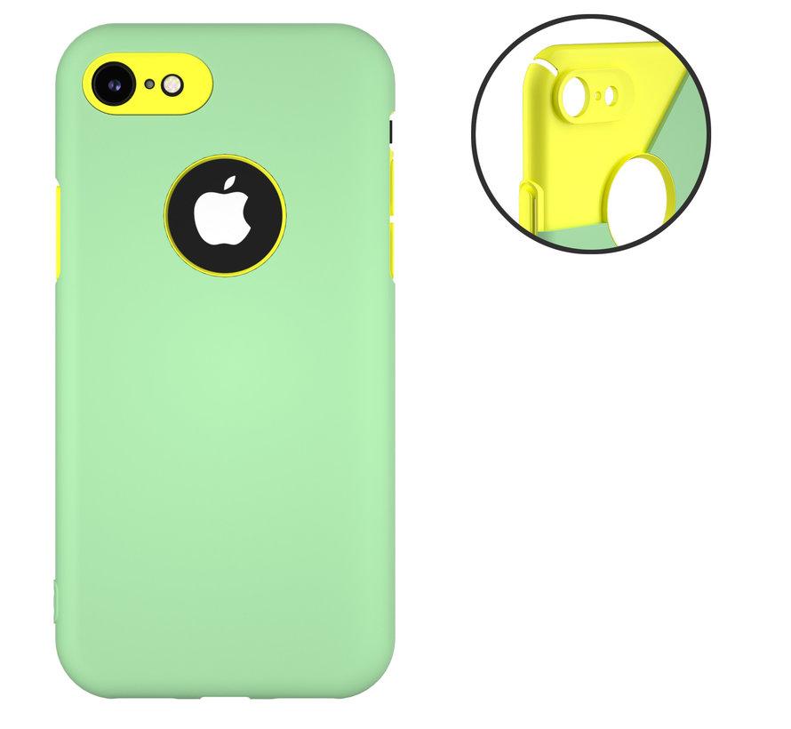 Dubbellaags siliconen hoesje iPhone 7 / 8 (lichtgroen-geel)