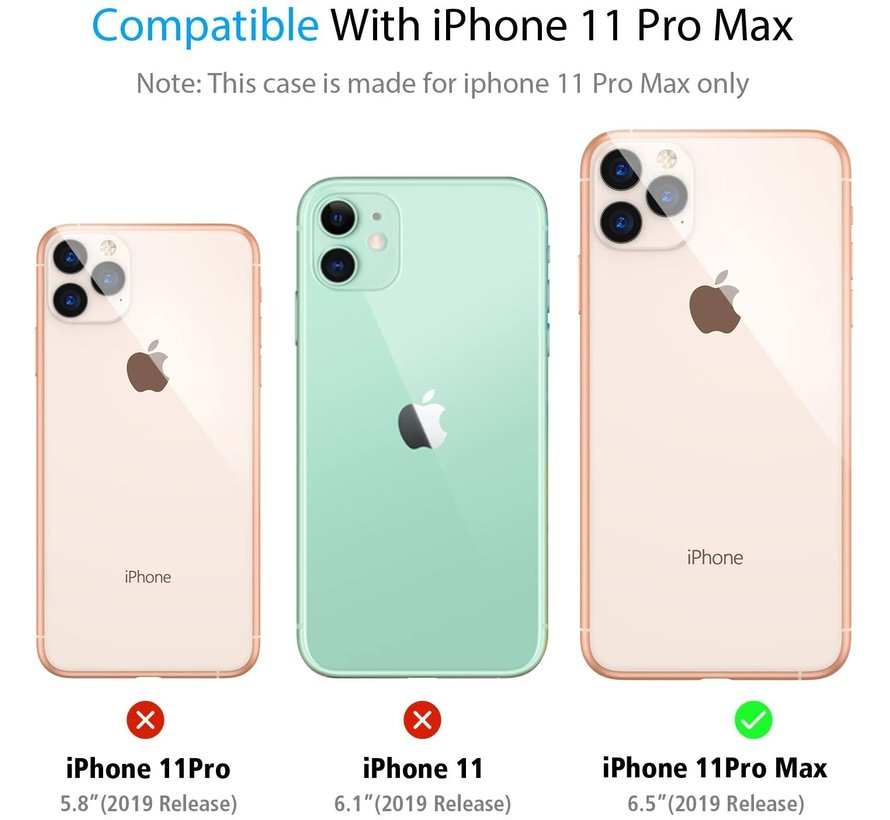 ShieldCase iPhone 11 Pro Max vierkante silicone case (donkerrood)