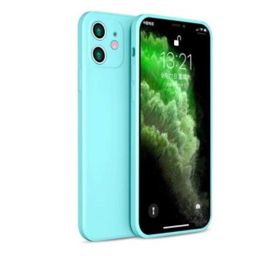 ShieldCase iPhone 11 vierkante silicone case (aqua)
