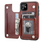 ShieldCase® Wallet case iPhone 12 - 6.1 inch (bruin)