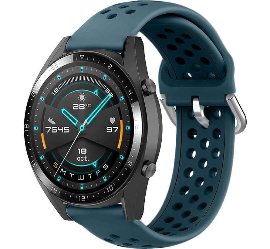 Huawei Watch GT siliconen bandje met gaatjes (rock green)