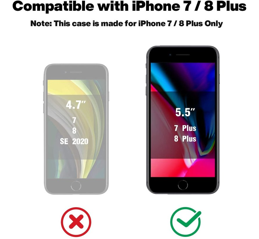 ShieldCase iPhone 7 Plus / 8 Plus vierkante silicone case (paars)
