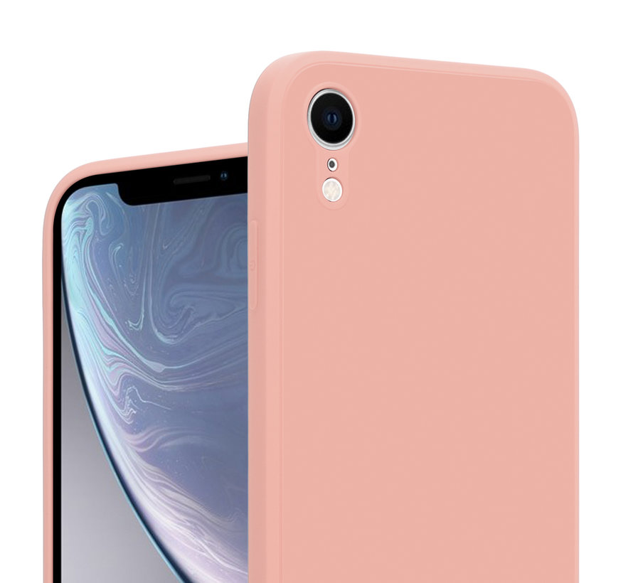 ShieldCase iPhone Xr vierkante silicone case (roze)