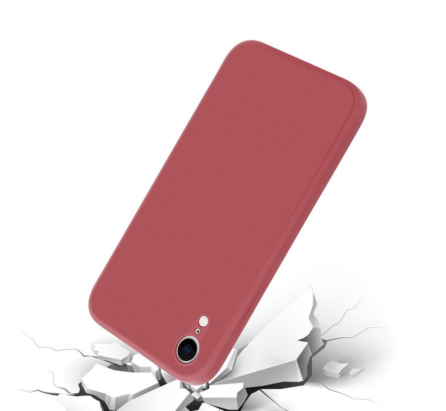 ShieldCase iPhone Xr vierkante silicone case (donkerrood)