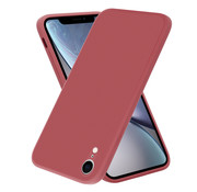 ShieldCase® iPhone Xr vierkante silicone case (donkerrood)