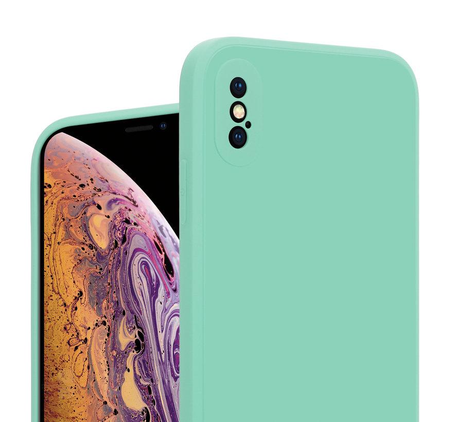 ShieldCase iPhone X / Xs vierkante silicone case (aqua)