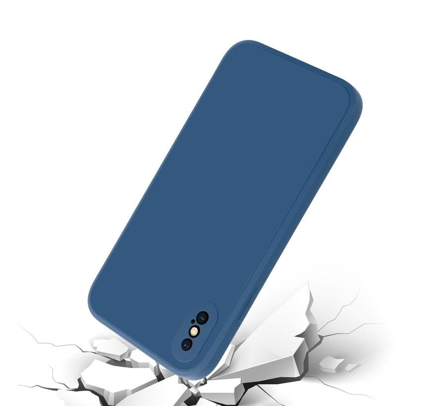 ShieldCase iPhone X / Xs vierkante silicone case (blauw)