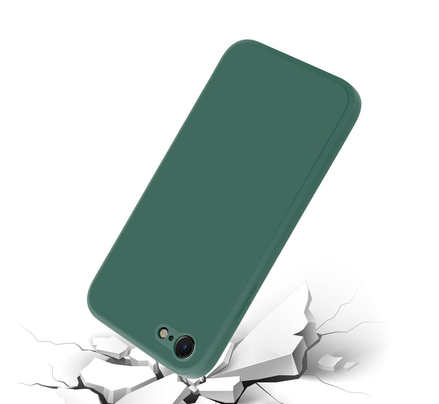 ShieldCase iPhone SE 2020 vierkante silicone case (donkergroen)