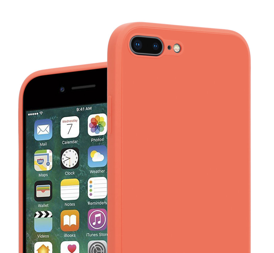 ShieldCase iPhone 7 Plus / 8 Plus vierkante silicone case (oranje)