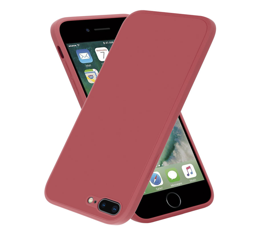 ShieldCase iPhone 7 Plus / 8 Plus vierkante silicone case (donkerrood)