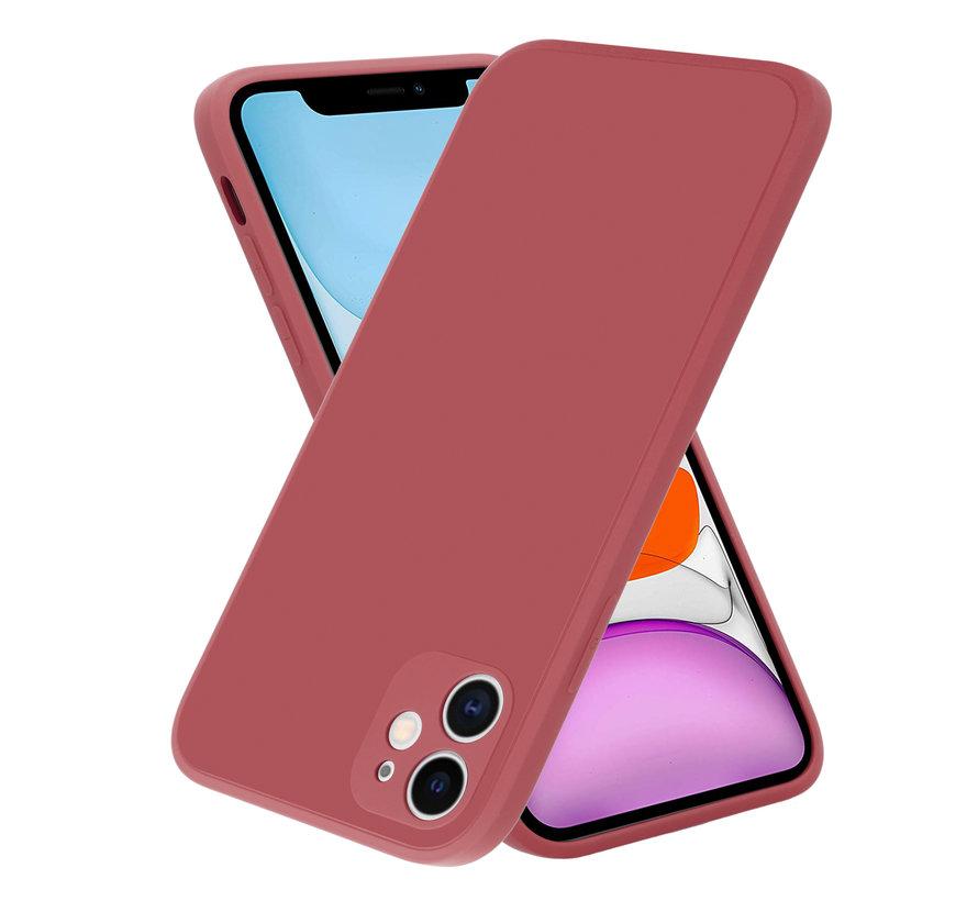 ShieldCase iPhone 11 vierkante silicone case (donkerrood)