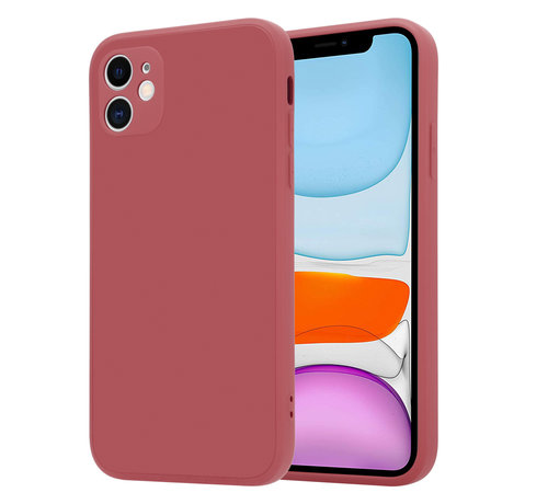 ShieldCase® ShieldCase iPhone 11 vierkante silicone case (donkerrood)