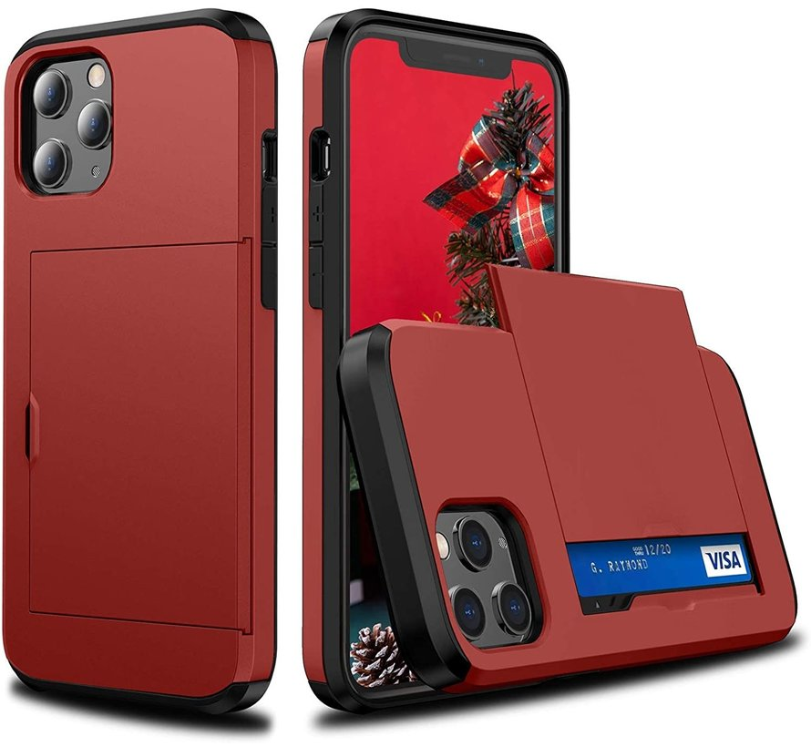 ShieldCase Kaarthouder case met slide iPhone 12 Pro Max 6.7 inch (rood)