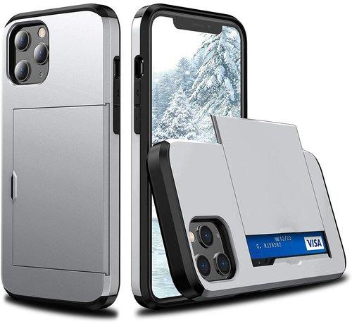 ShieldCase® ShieldCase Kaarthouder case met slide iPhone 12 Pro Max 6.7 inch (zilver)