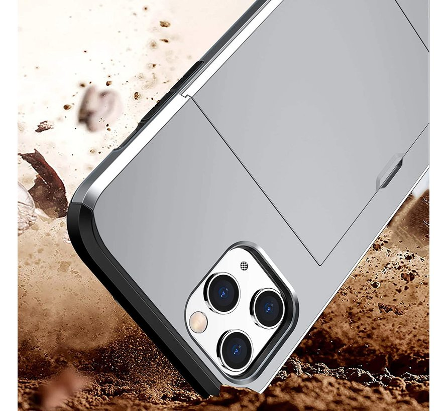 ShieldCase Kaarthouder case met slide iPhone 12 Pro Max 6.7 inch (zilver)