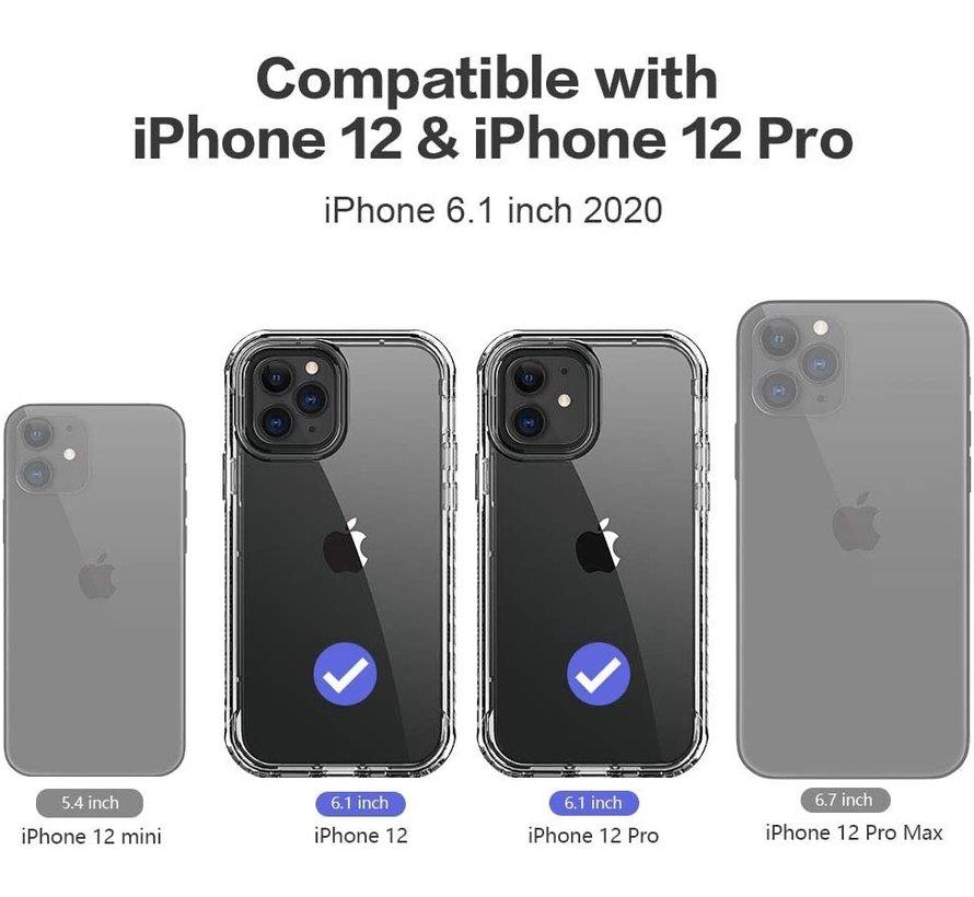 ShieldCase iPhone 12 - 6.1 inch hoesje marmeren patroon (roze)