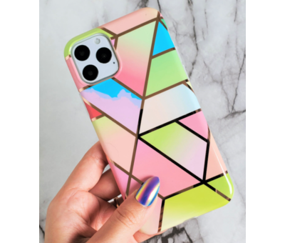 ShieldCase® ShieldCase iPhone 11 hoesje marmeren patroon (regenboog)
