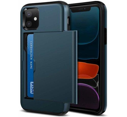 ShieldCase® ShieldCase Kaarthouder case met slide iPhone 12 - 6.1 inch (blauw)
